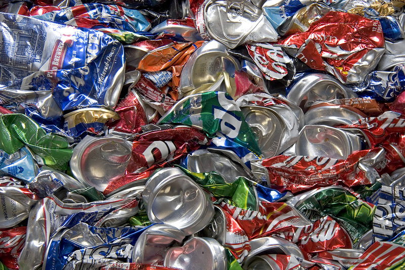 Crushed aluminum cans at a recycling facility in Boise, Idaho.